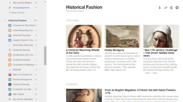 You can look at everything, or browse one category at a time. Right now I only have 'historical fashion' showing.